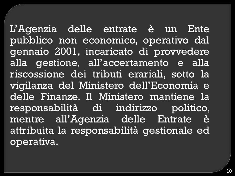L'Agenzia delle entrate è un Ente pubblico non economico, operativo dal gennaio 2001, incaricato di provvedere alla gestione, all'accertamento e alla