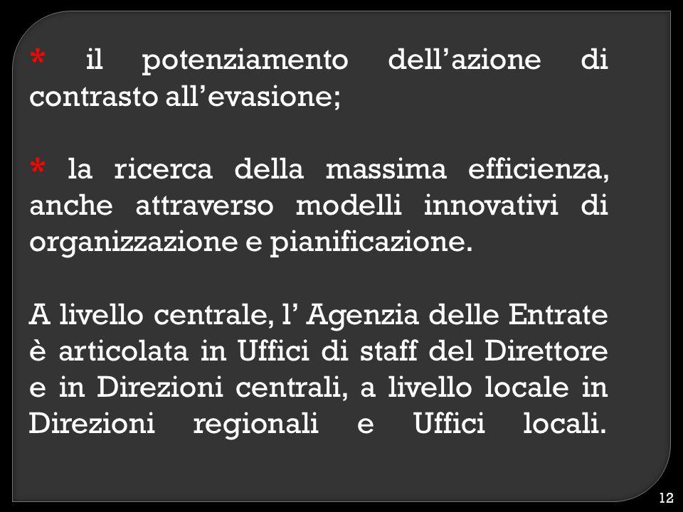 * il potenziamento dell'azione di contrasto all'evasione; * la ricerca della massima efficienza, anche attraverso modelli innovativi di organizzazione