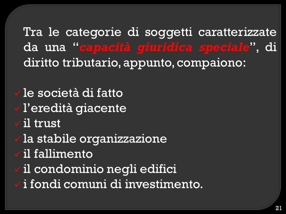 """Tra le categorie di soggetti caratterizzate da una """"capacità giuridica speciale"""", di diritto tributario, appunto, compaiono: le società di fatto l'ere"""