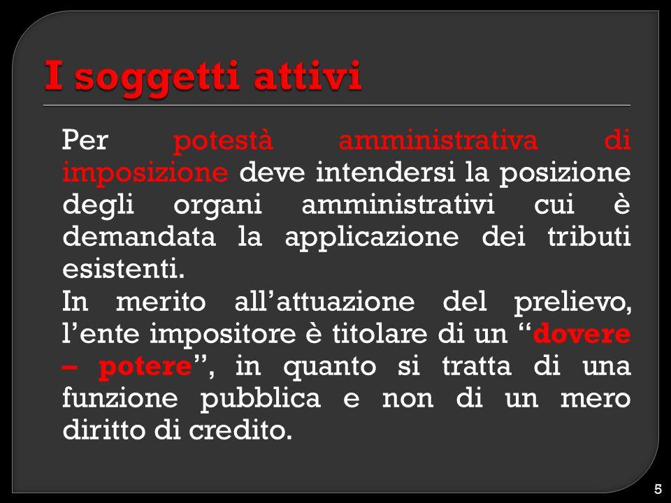 Per potestà amministrativa di imposizione deve intendersi la posizione degli organi amministrativi cui è demandata la applicazione dei tributi esisten