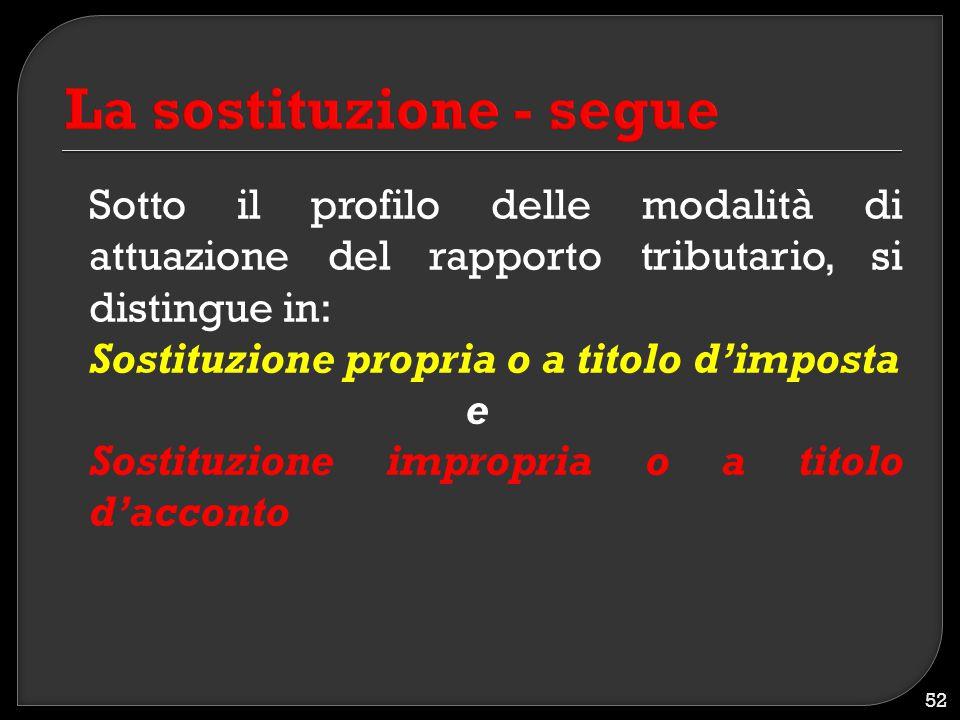 Sotto il profilo delle modalità di attuazione del rapporto tributario, si distingue in: Sostituzione propria o a titolo d'imposta e Sostituzione impro
