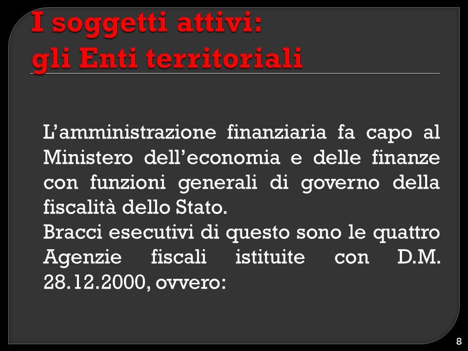 L'amministrazione finanziaria fa capo al Ministero dell'economia e delle finanze con funzioni generali di governo della fiscalità dello Stato. Bracci