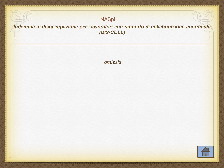 NASpI Indennità di disoccupazione per i lavoratori con rapporto di collaborazione coordinata (DIS-COLL) omissis