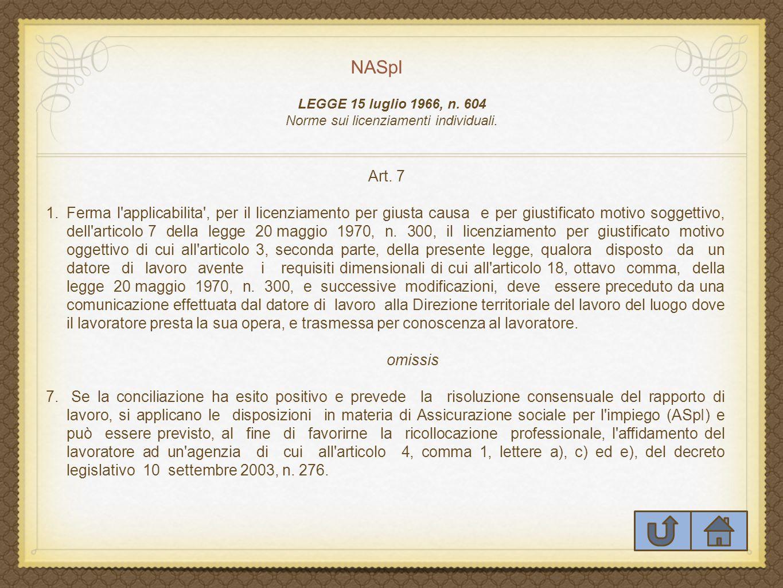 NASpI LEGGE 15 luglio 1966, n.604 Norme sui licenziamenti individuali.