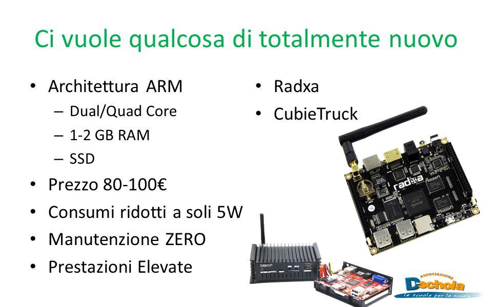 Ci vuole qualcosa di totalmente nuovo Architettura ARM – Dual/Quad Core – 1-2 GB RAM – SSD Prezzo 80-100€ Consumi ridotti a soli 5W Manutenzione ZERO Prestazioni Elevate Radxa CubieTruck