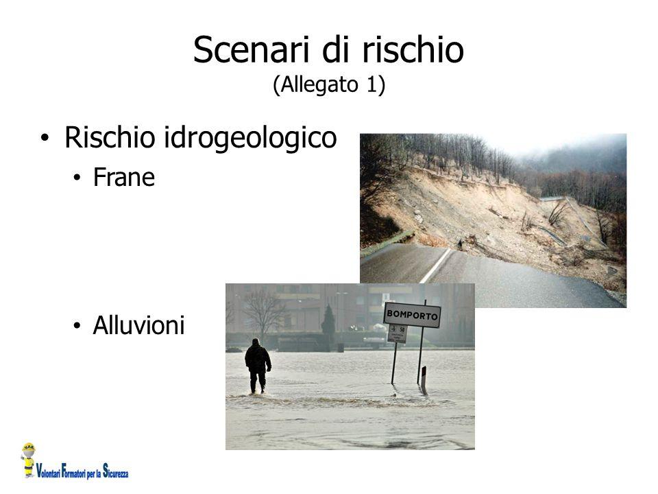 Scenari di rischio (Allegato 1) Rischio idrogeologico Frane Alluvioni