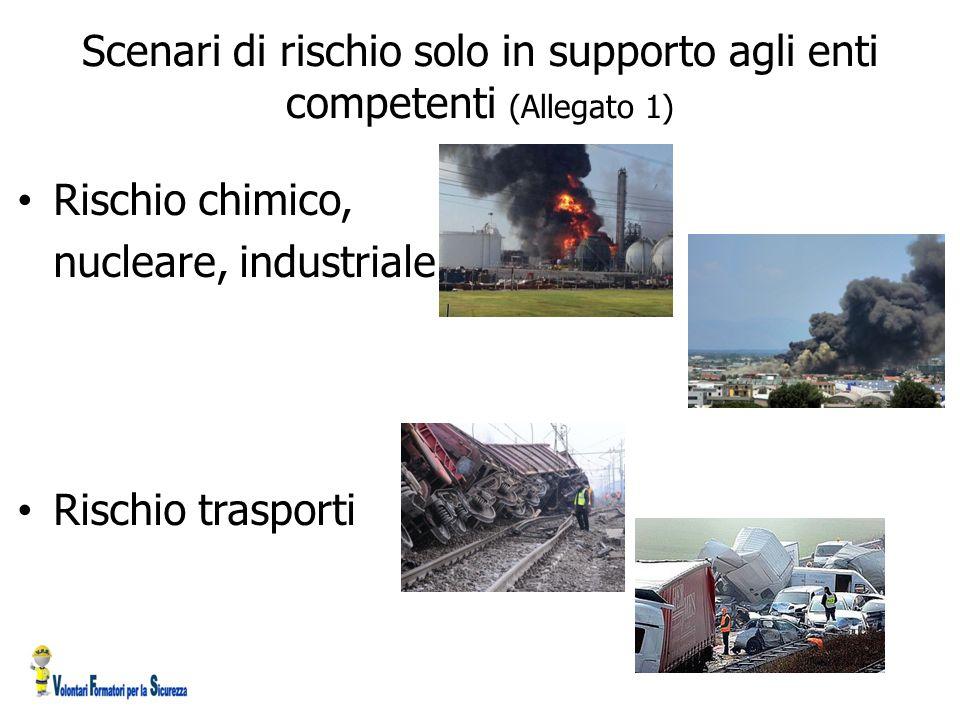 Scenari di rischio solo in supporto agli enti competenti (Allegato 1) Rischio chimico, nucleare, industriale Rischio trasporti