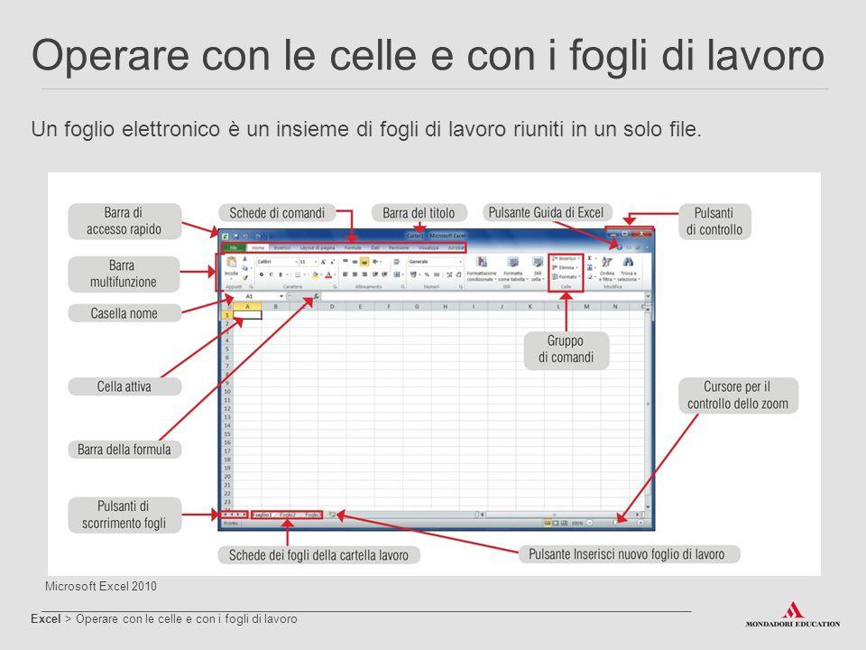 Operare con le celle e con i fogli di lavoro Excel > Operare con le celle e con i fogli di lavoro L'unità base del foglio di lavoro è la cella, che si trova all'intersezione di una riga con una colonna.
