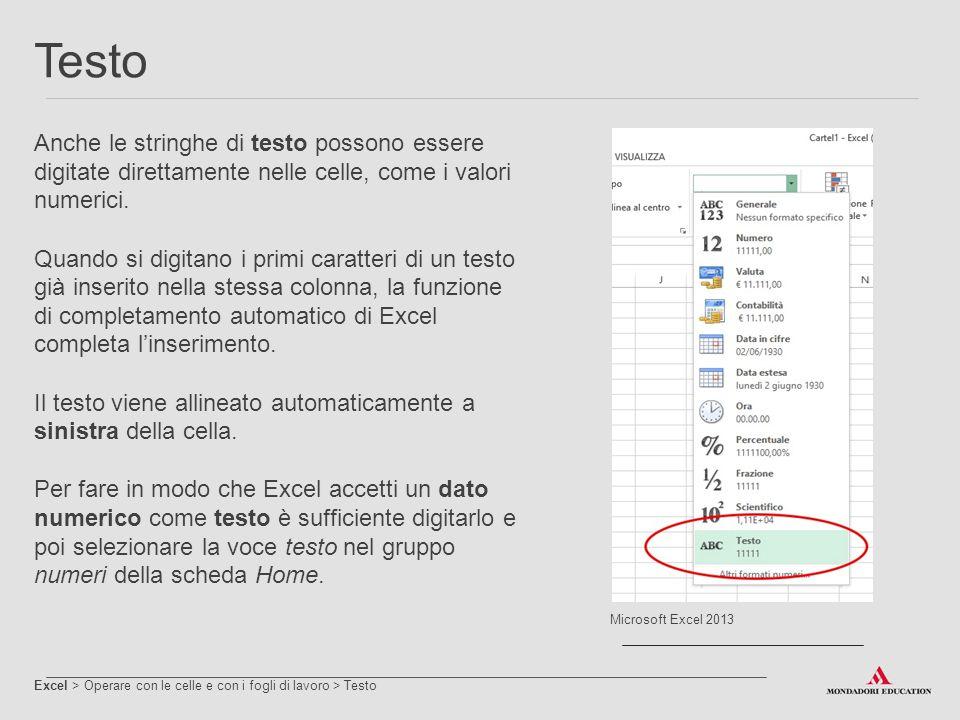 Date Excel > Operare con le celle e con i fogli di lavoro > Date Le date possono essere digitate nelle celle, come i numeri e le stringhe di testo.