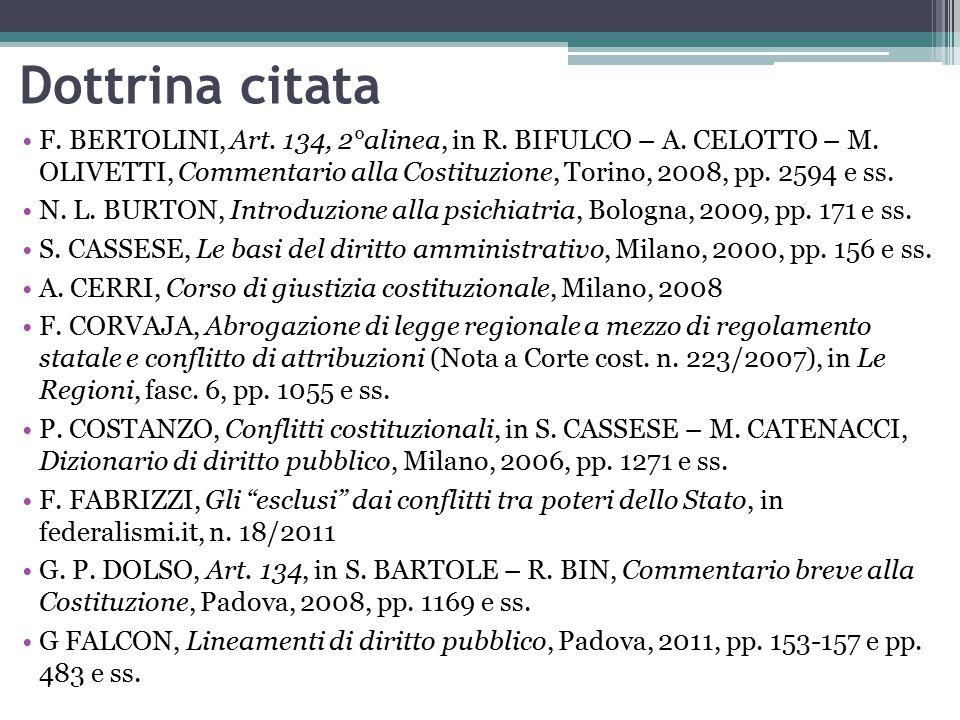 F.BERTOLINI, Art. 134, 2°alinea, in R. BIFULCO – A.