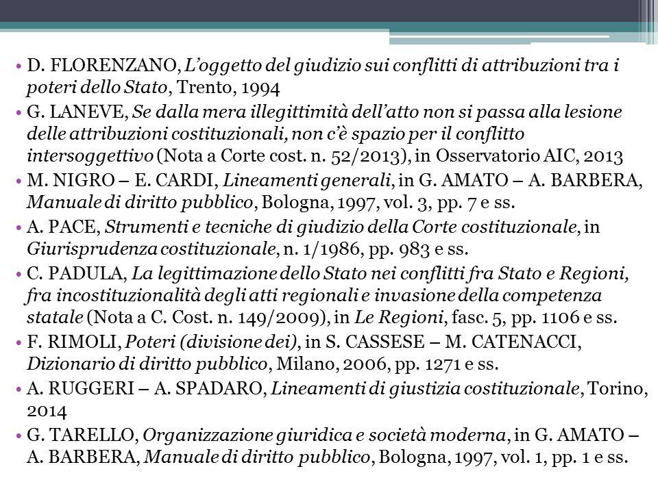 D. FLORENZANO, L'oggetto del giudizio sui conflitti di attribuzioni tra i poteri dello Stato, Trento, 1994 G. LANEVE, Se dalla mera illegittimità dell