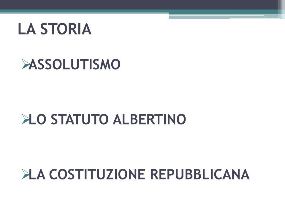 LA STORIA  ASSOLUTISMO  LO STATUTO ALBERTINO  LA COSTITUZIONE REPUBBLICANA