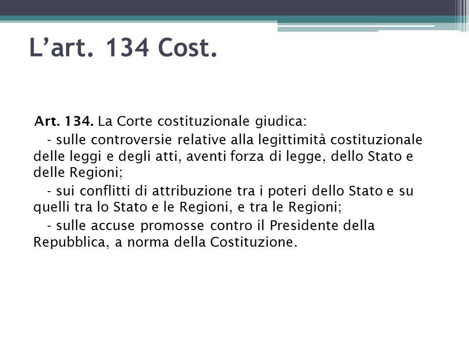 L'art.134 Cost. Art. 134.
