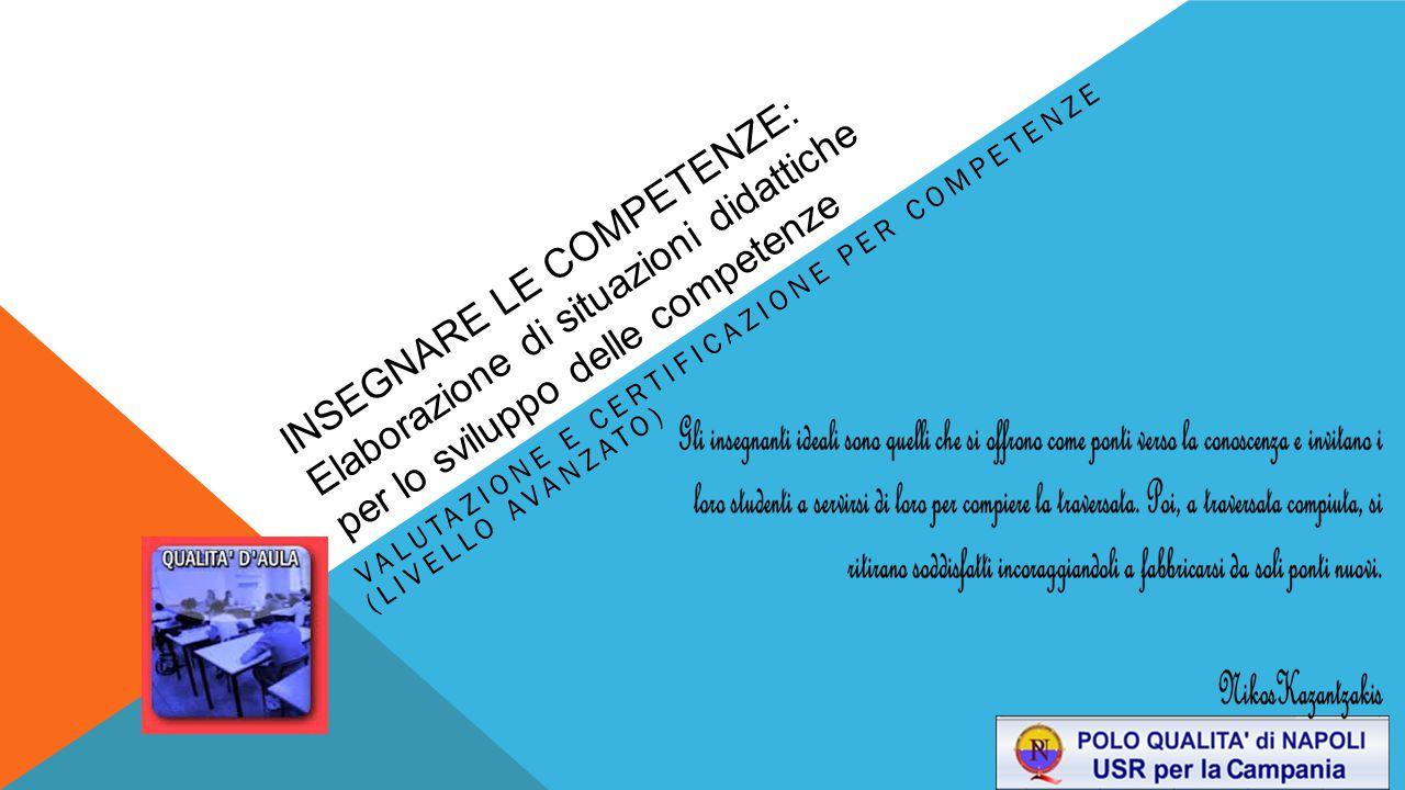 INSEGNARE LE COMPETENZE: Elaborazione di situazioni didattiche per lo sviluppo delle competenze VALUTAZIONE E CERTIFICAZIONE PER COMPETENZE (LIVELLO A