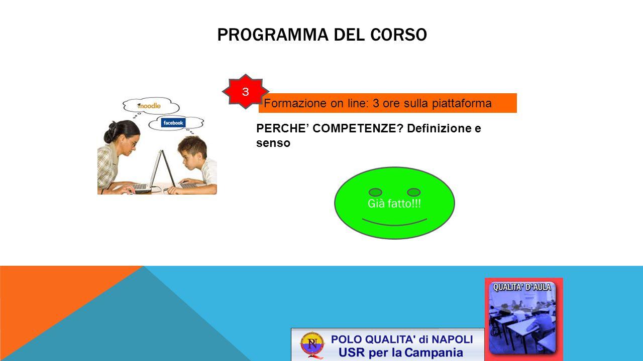 PROGRAMMA DEL CORSO Formazione on line: 3 ore sulla piattaforma PERCHE' COMPETENZE? Definizione e senso 3 1