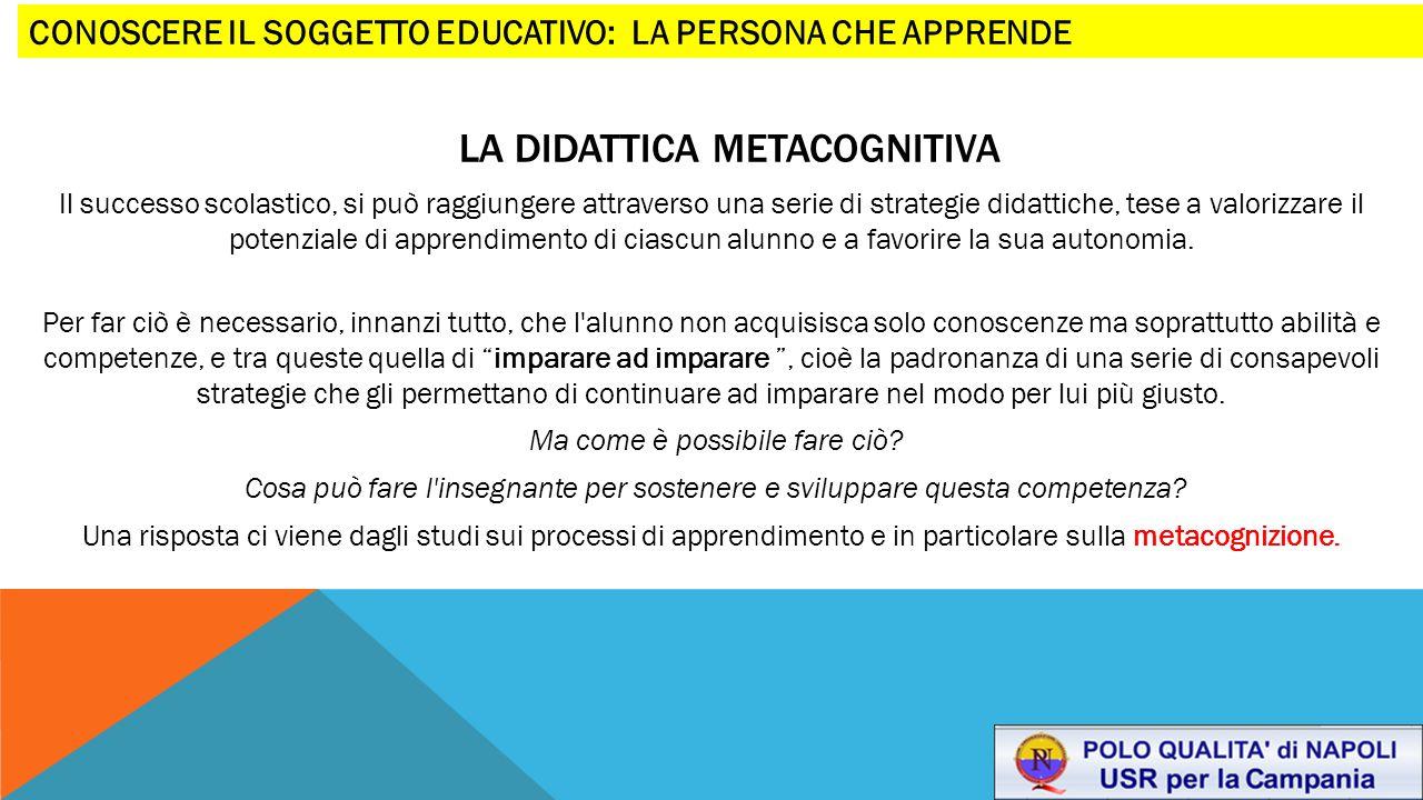 LA DIDATTICA METACOGNITIVA Il successo scolastico, si può raggiungere attraverso una serie di strategie didattiche, tese a valorizzare il potenziale d