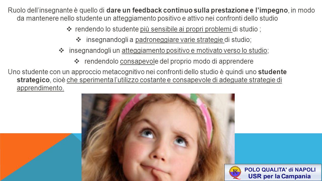 Ruolo dell'insegnante è quello di dare un feedback continuo sulla prestazione e l'impegno, in modo da mantenere nello studente un atteggiamento positi