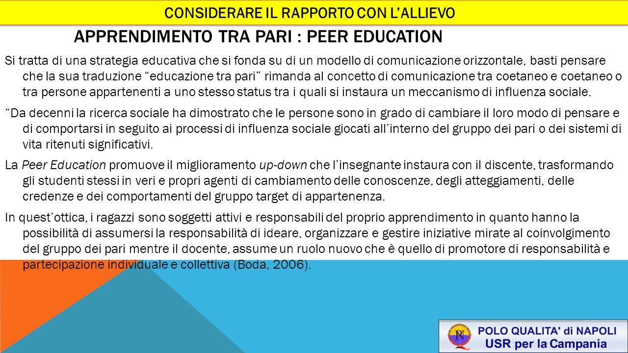 APPRENDIMENTO TRA PARI : PEER EDUCATION Si tratta di una strategia educativa che si fonda su di un modello di comunicazione orizzontale, basti pensare