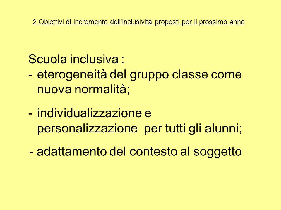 2 Obiettivi di incremento dell'inclusività proposti per il prossimo anno Scuola inclusiva : -eterogeneità del gruppo classe come nuova normalità; - adattamento del contesto al soggetto -individualizzazione e personalizzazione per tutti gli alunni;