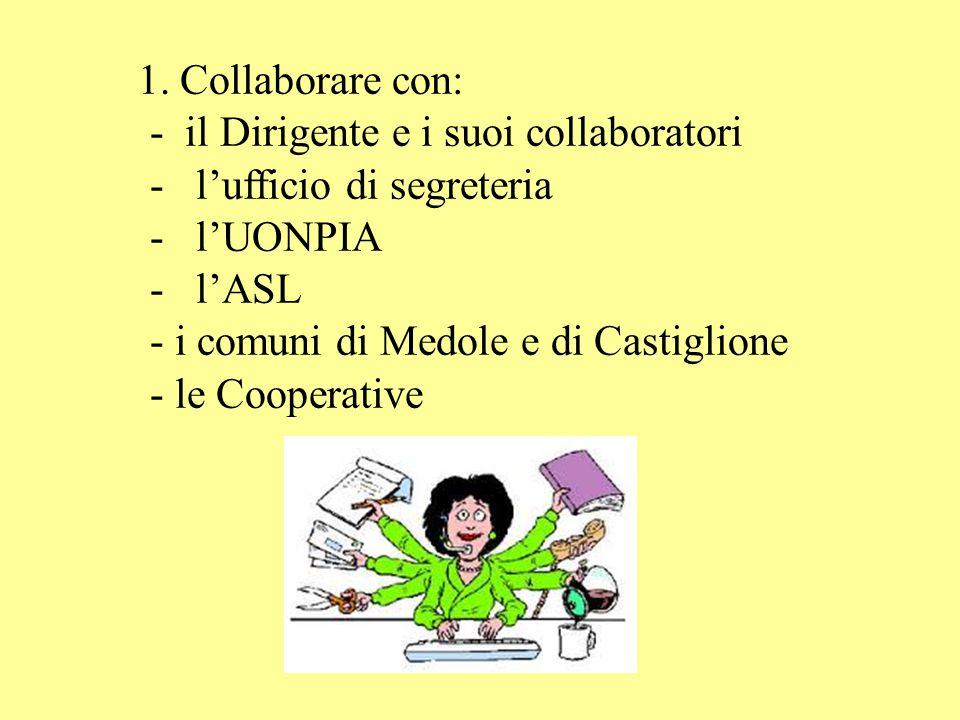 1. Collaborare con: - il Dirigente e i suoi collaboratori - l'ufficio di segreteria - l'UONPIA - l'ASL - i comuni di Medole e di Castiglione - le Coop