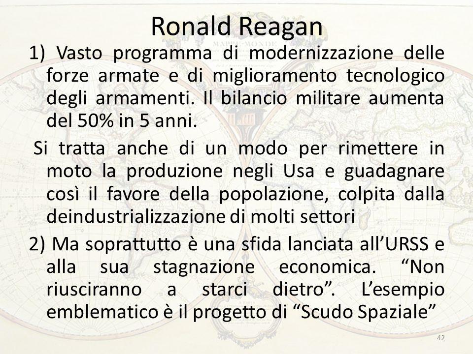 Ronald Reagan 1) Vasto programma di modernizzazione delle forze armate e di miglioramento tecnologico degli armamenti.