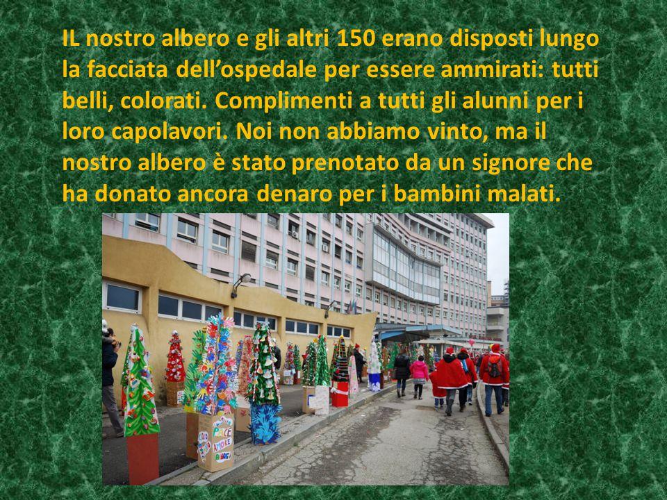 IL nostro albero e gli altri 150 erano disposti lungo la facciata dell'ospedale per essere ammirati: tutti belli, colorati.