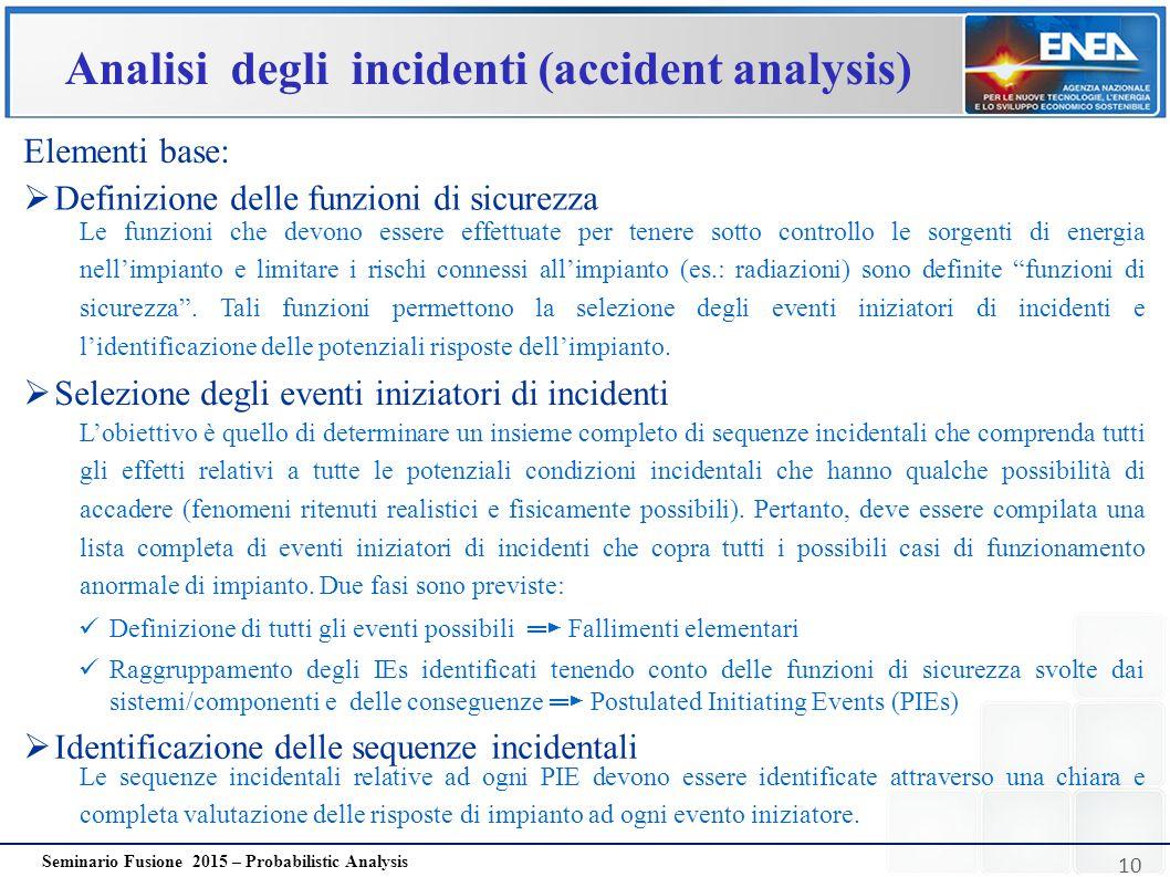 10 Seminario Fusione 2015 – Probabilistic Analysis Analisi degli incidenti (accident analysis) Elementi base: Le funzioni che devono essere effettuate
