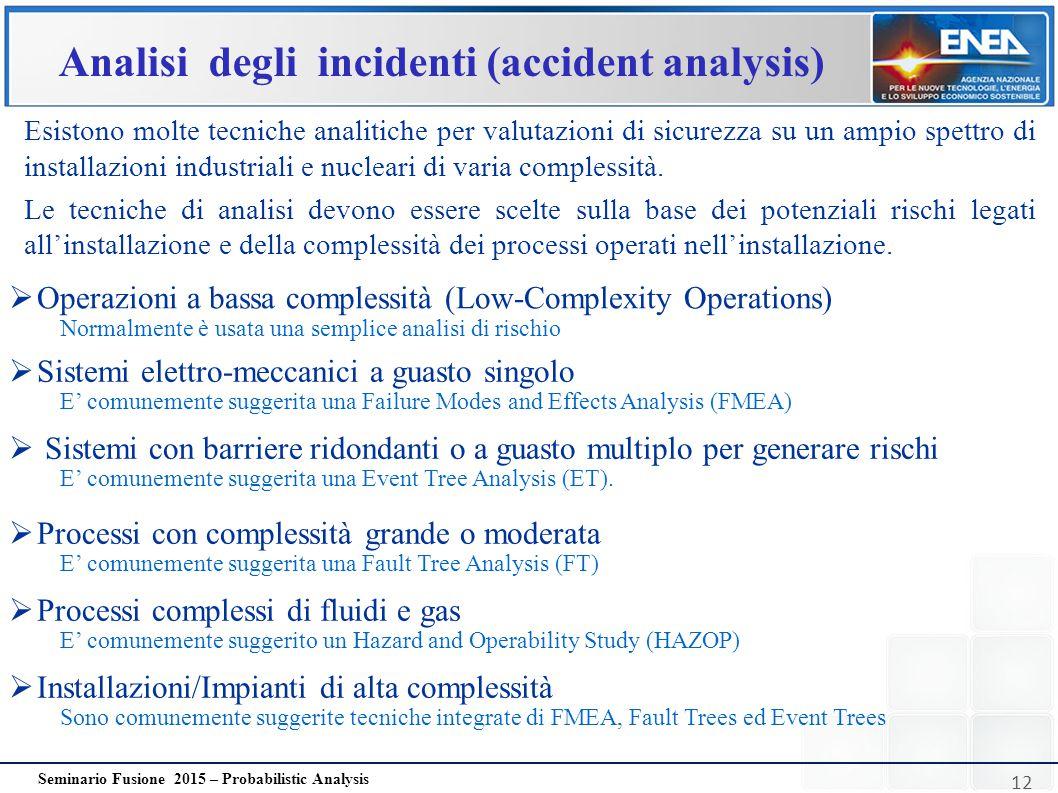 12 Seminario Fusione 2015 – Probabilistic Analysis Analisi degli incidenti (accident analysis) Esistono molte tecniche analitiche per valutazioni di s