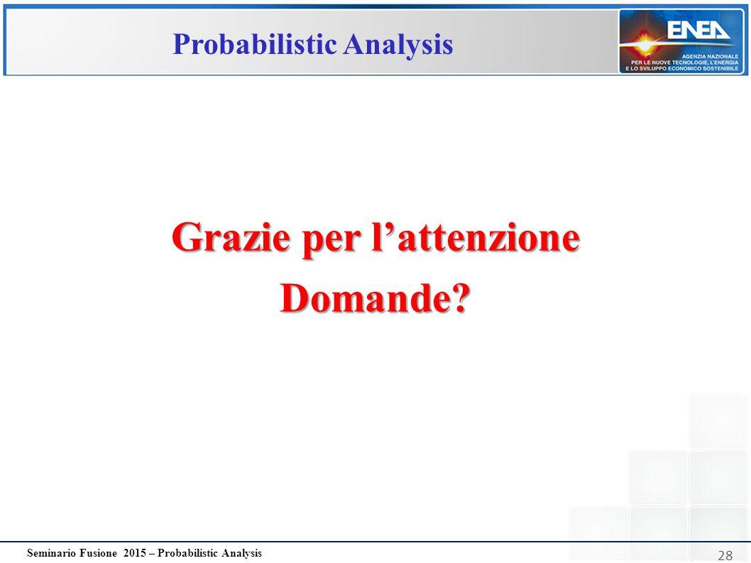 28 Seminario Fusione 2015 – Probabilistic Analysis Probabilistic Analysis Grazie per l'attenzione Domande?