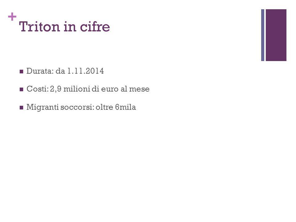 + Triton in cifre Durata: da 1.11.2014 Costi: 2,9 milioni di euro al mese Migranti soccorsi: oltre 6mila