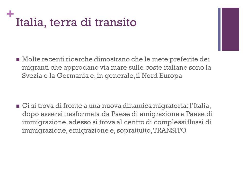+ Italia, terra di transito Molte recenti ricerche dimostrano che le mete preferite dei migranti che approdano via mare sulle coste italiane sono la S