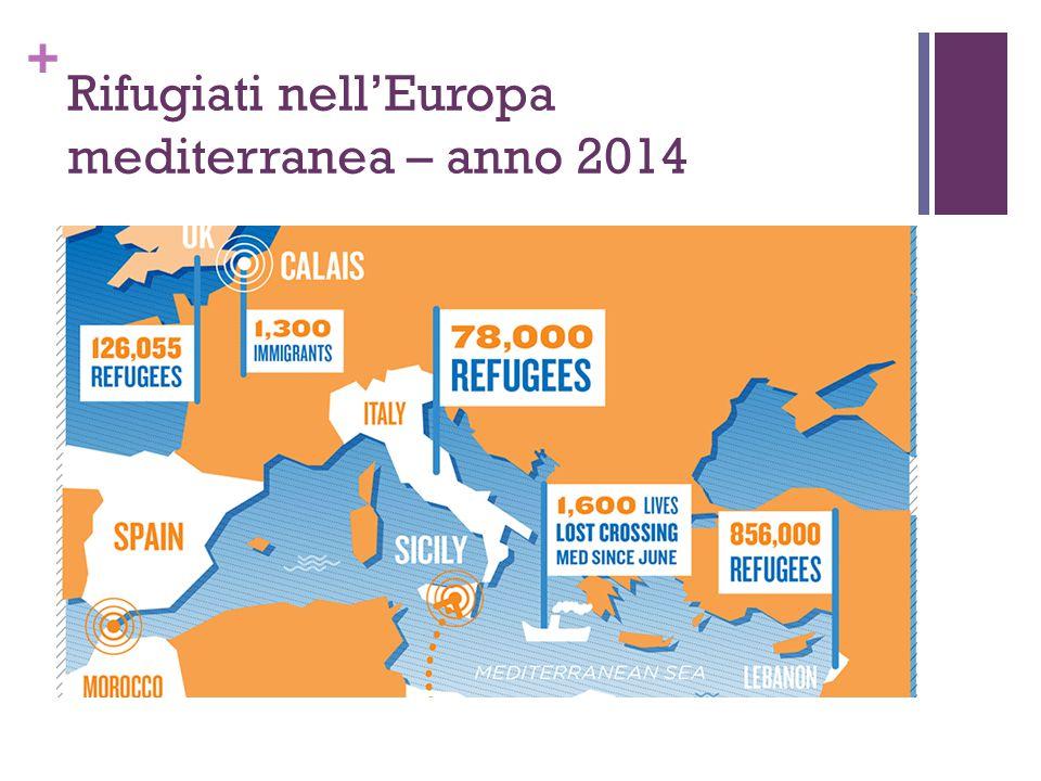 + Rifugiati nell'Europa mediterranea – anno 2014