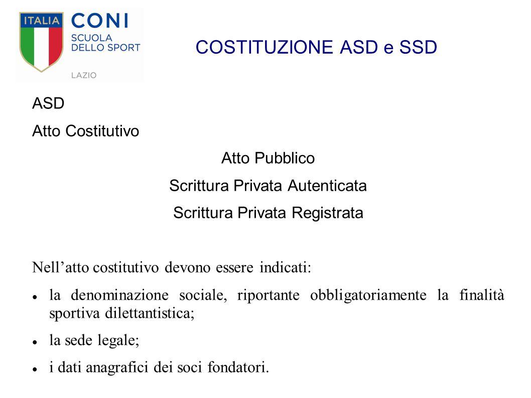 COSTITUZIONE ASD e SSD ASD Atto Costitutivo Atto Pubblico Scrittura Privata Autenticata Scrittura Privata Registrata Nell'atto costitutivo devono esse