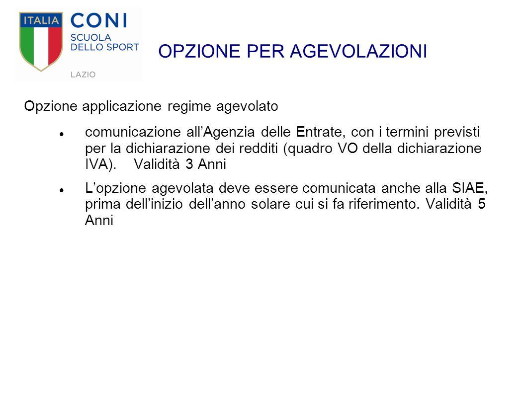 OPZIONE PER AGEVOLAZIONI Opzione applicazione regime agevolato comunicazione all'Agenzia delle Entrate, con i termini previsti per la dichiarazione de