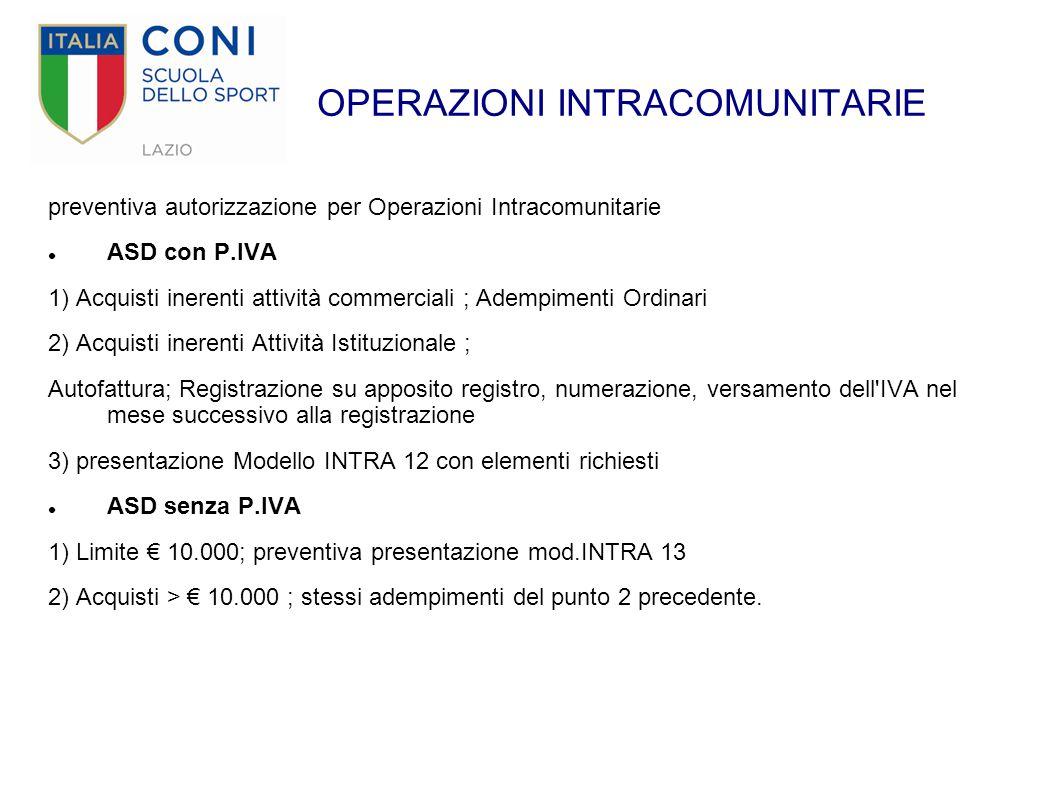 OPERAZIONI INTRACOMUNITARIE preventiva autorizzazione per Operazioni Intracomunitarie ASD con P.IVA 1) Acquisti inerenti attività commerciali ; Adempi