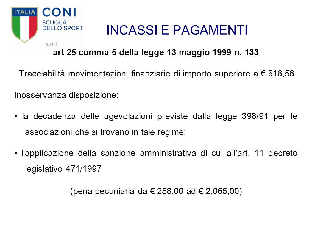INCASSI E PAGAMENTI art 25 comma 5 della legge 13 maggio 1999 n. 133 Tracciabilità movimentazioni finanziarie di importo superiore a € 516,56 Inosserv