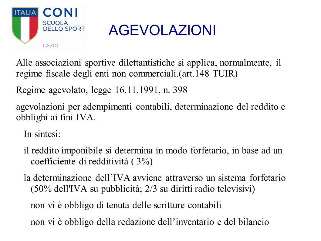 AGEVOLAZIONI Alle associazioni sportive dilettantistiche si applica, normalmente, il regime fiscale degli enti non commerciali.(art.148 TUIR) Regime a