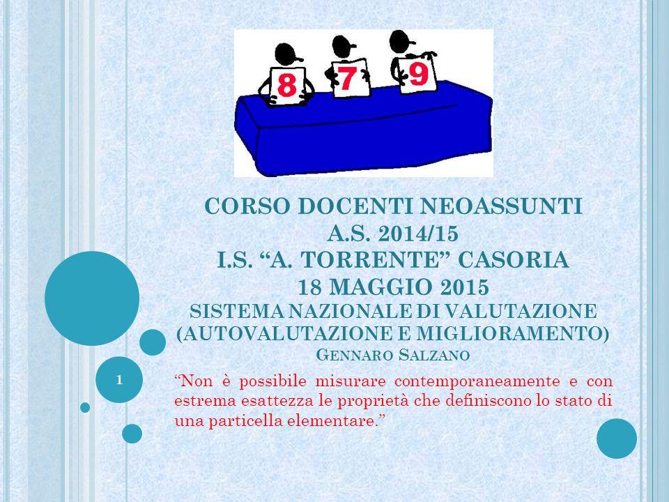 """CORSO DOCENTI NEOASSUNTI A.S. 2014/15 I.S. """"A. TORRENTE"""" CASORIA 18 MAGGIO 2015 SISTEMA NAZIONALE DI VALUTAZIONE (AUTOVALUTAZIONE E MIGLIORAMENTO) G E"""