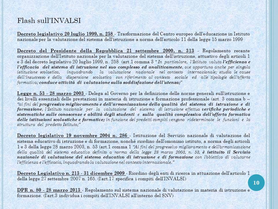 10 Flash sull'INVALSI Decreto legislativo 20 luglio 1999, n. 258 - Trasformazione del Centro europeo dell'educazione in Istituto nazionale per la valu