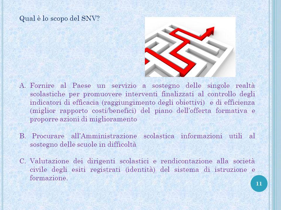 11 Qual è lo scopo del SNV? A.Fornire al Paese un servizio a sostegno delle singole realtà scolastiche per promuovere interventi finalizzati al contro