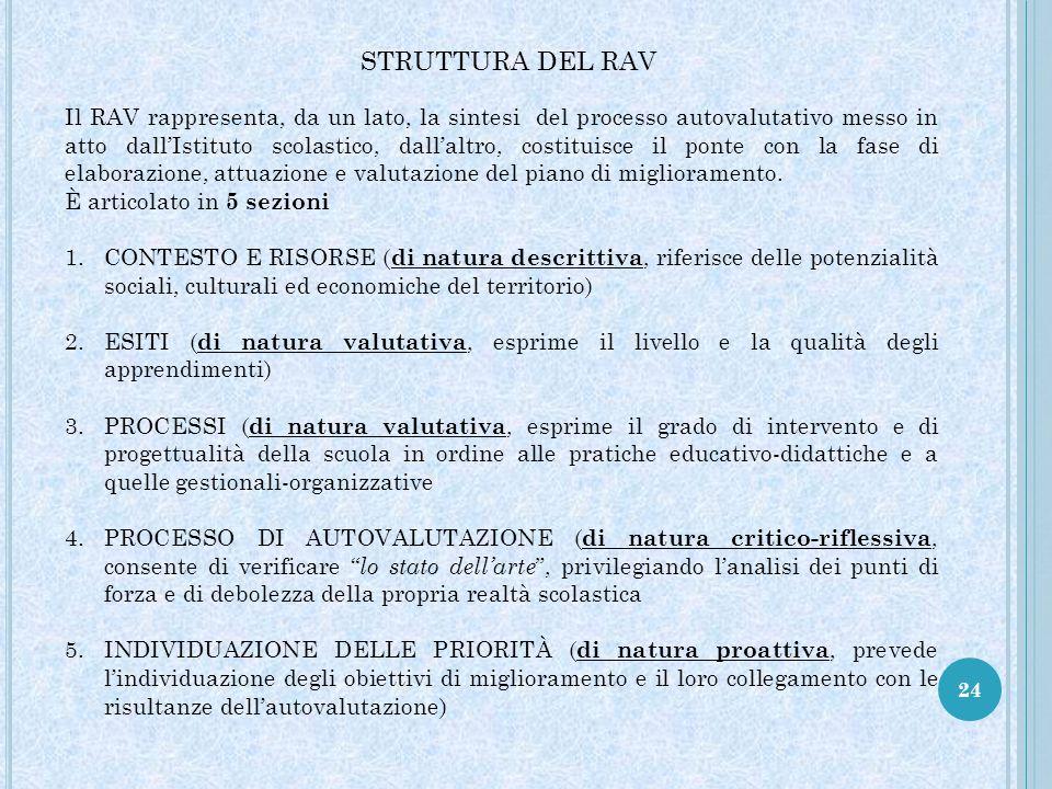 24 STRUTTURA DEL RAV Il RAV rappresenta, da un lato, la sintesi del processo autovalutativo messo in atto dall'Istituto scolastico, dall'altro, costituisce il ponte con la fase di elaborazione, attuazione e valutazione del piano di miglioramento.