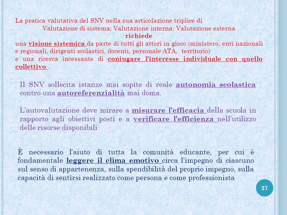 27 La pratica valutativa del SNV nella sua articolazione triplice di Valutazione di sistema; Valutazione interna; Valutazione esterna richiede una vis