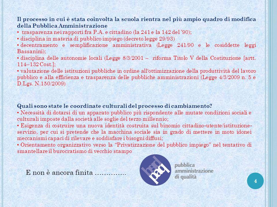 5 Il percorso ha incontrato notevoli difficoltà essenzialmente legate ad una mancata cultura della valutazione dei servizi pubblici in Italia, differentemente a quanto accade in altri Paesi europei.