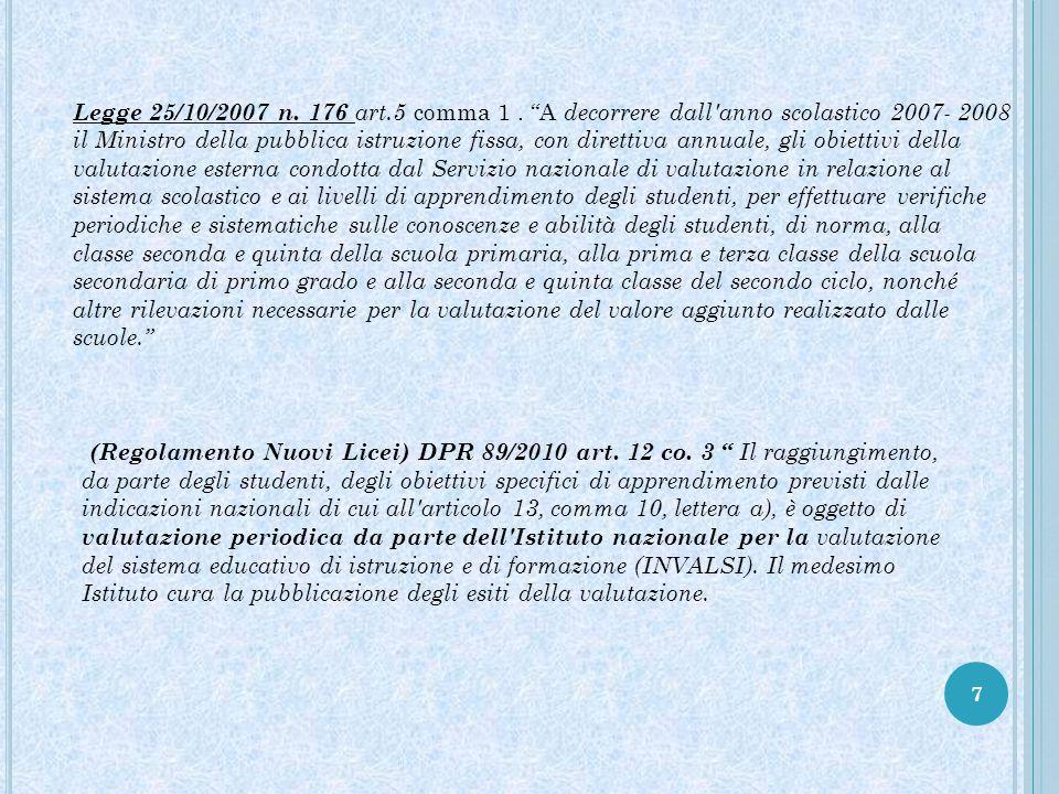 """7 Legge 25/10/2007 n. 176 art.5 comma 1. """"A decorrere dall'anno scolastico 2007- 2008 il Ministro della pubblica istruzione fissa, con direttiva annua"""