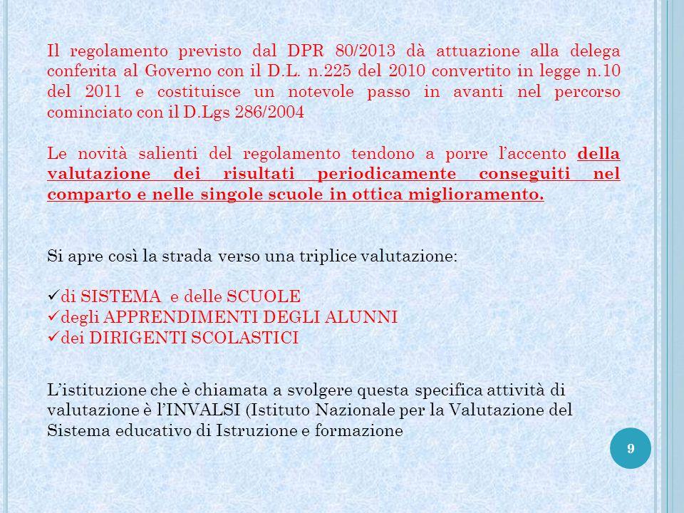 9 Il regolamento previsto dal DPR 80/2013 dà attuazione alla delega conferita al Governo con il D.L. n.225 del 2010 convertito in legge n.10 del 2011