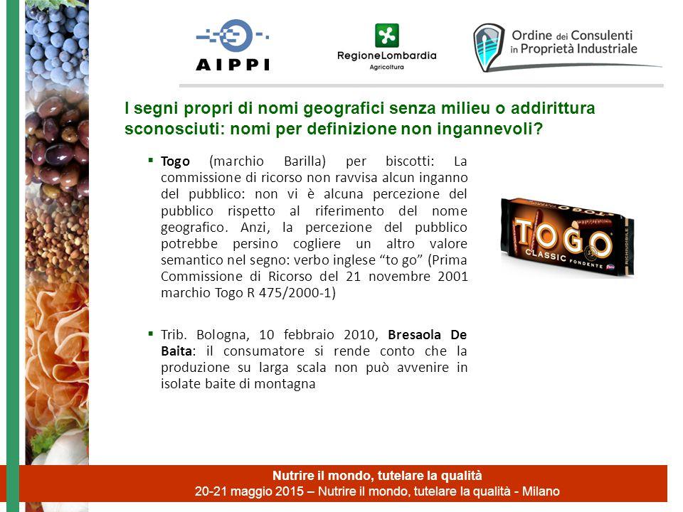  Togo (marchio Barilla) per biscotti: La commissione di ricorso non ravvisa alcun inganno del pubblico: non vi è alcuna percezione del pubblico rispetto al riferimento del nome geografico.