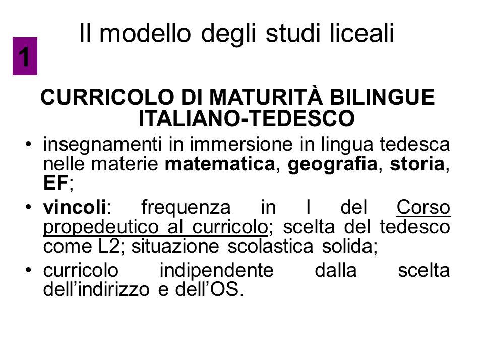 Il modello degli studi liceali CURRICOLO DI MATURITÀ BILINGUE ITALIANO-TEDESCO insegnamenti in immersione in lingua tedesca nelle materie matematica,