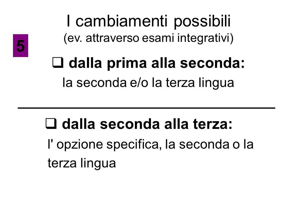 I cambiamenti possibili (ev. attraverso esami integrativi)  dalla prima alla seconda: la seconda e/o la terza lingua ________________________________