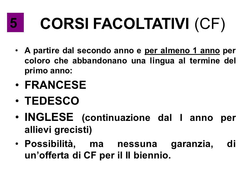 CORSI FACOLTATIVI (CF) A partire dal secondo anno e per almeno 1 anno per coloro che abbandonano una lingua al termine del primo anno: FRANCESE TEDESC