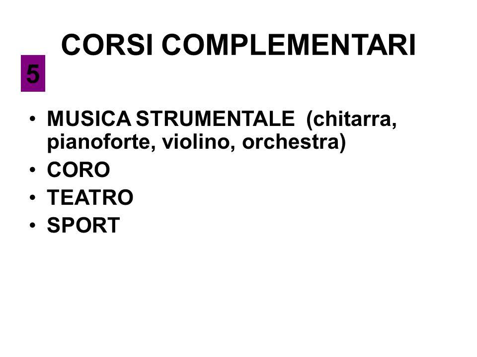 CORSI COMPLEMENTARI MUSICA STRUMENTALE (chitarra, pianoforte, violino, orchestra) CORO TEATRO SPORT 5